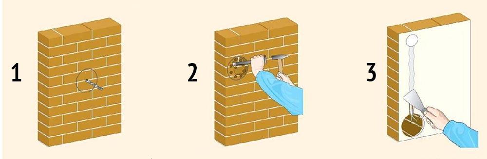 размечаем вентилятор на стене